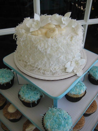 Beach themed cupcake tower
