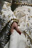 gold dress gold wedding dress white detail gold detail photo