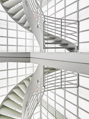 The Upward Spiral (yushimoto_02 [christian]) Tags: cinema reflection berlin television architecture stairs spiral mirror tv arquitectura kino stair spiegel screen treppe staircase espejo reflejo potsdamerplatz architektur onwhite reflexions spiegelung hdr circular hdri reflektion treppen tvscreen circularstairs circularstair deutschekinemathek kinemathek unusualviewsperspectives