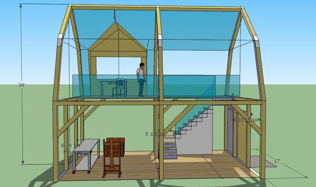 Timberframe studio 10 ceiling, gambrel roofB