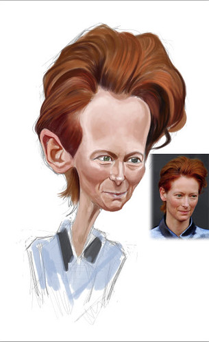 digital caricature of Tilda Swinton - 2