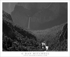 Bridalveil Fall and Merced River Canyon, Morning (G Dan Mitchell) Tags: california road park morning travel light shadow blackandwhite cliff usa mist mountain fall 120 nature forest river landscape waterfall back spring highway nevada stock scenic atmosphere merced canyon sierra ridge national valley yosemite northamerica bridalveil slope recession monochrone havze