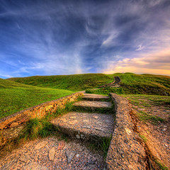 Stairs to nowhere (DJKphotography) Tags: blue sky nature clouds stairs contrast spring nice rocks colours stones walk sony wide sigma happiness enjoy hdr verticalpanorama exposures vertorama nearsummer