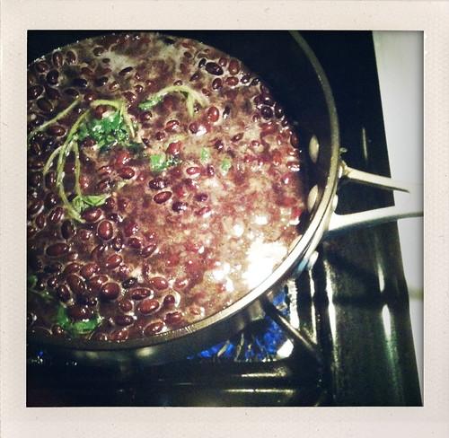 Black beans simmering