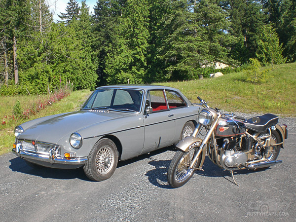 1967 MGB GT and 1954 BSA A10
