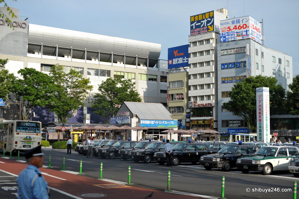 As with most country stations in Japan, there is a line up of taxis waiting to take you wherever you want.