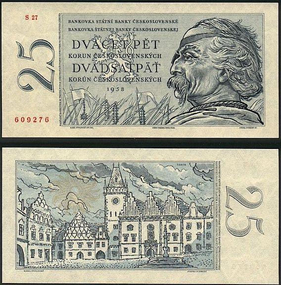 25 Kčs II. Dvadsaťpäť korún Československo 1958