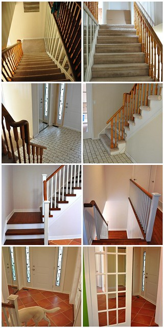 Hall & stairs- before and after