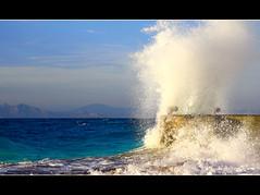 Splash! (ville_v) Tags: sunset sea sky hellas wave greece rodos rhodes rodi rodes kreikka