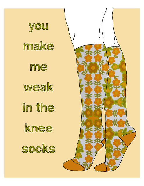 8x10 Knee Socks print - Retro Flowers