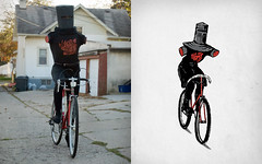 Look No Hands Costume (phildesignart) Tags: bike shirt design costume montypython blackknight vote nohands