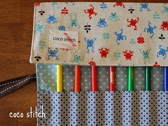 Pencil roll - blue frog (coco stitch) Tags: linen frog pencilcase japanesefabric pencilroll