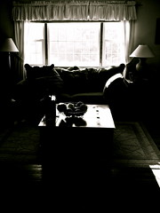 Home is where the hurt is. (heatherm815) Tags: blackandwhite window lamp table livingroom couch curtains rug coffeetable sayanything wherethehurtis