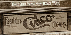 The Anderson News Co., Anderson, Indiana, close-up section 8 (Hoosier Recollections) Tags: people usa signs man men history sepia buildings advertising indiana celebration anderson shops cigars storefronts theaters businesses theatres postmark hoosierrecollections