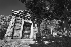 Stewart Family Mausoleum, 2017.06.22 (Aaron Glenn Campbell) Tags: hollenback cemetery wilkesbarre wyomingcounty luzernecounty pennsylvania crypt mausoleum tomb textures 3xp ±2ev hdr macphun aurorahdr2017 luminar nikcollection blackandwhite bw sony a6000 ilce6000 mirrorless rokinon 12mmf2 wideangle primelens manualfocus emount cpfilter circularpolarizer