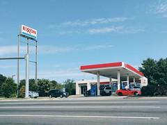 Exxon, SR 3 at Central Park Shopping Center, Fredericksburg Virginia (jon boat joe (pro)) Tags: virginia fredericksburg exxon gasstation fuel outdoor car corvette