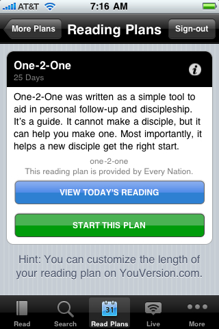 One-2-One Reading Plan