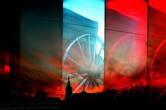 [ - supersampled texas sunset - ] (Mr. TRONA) Tags: sunset red film church wheel silhouette lomo supersampler texas chaos random dusk toycamera calm multipleexposure comfort mayhem happynewyear 2010 fburg fbg filmforever plasticgel randomlycomposed