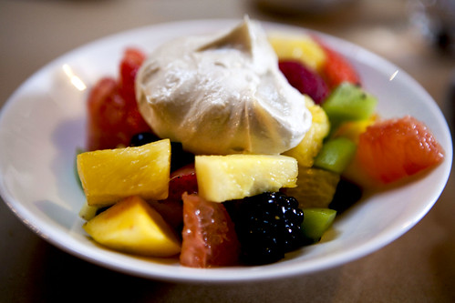 Fruit salad wtih rosewater & sweet tahini yogurt