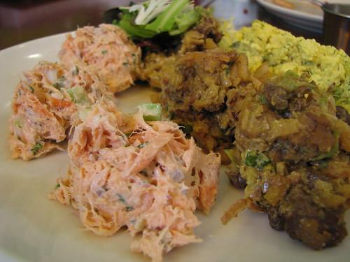 Wild salmon salad, curried tempeh salad, dilled organic tofu salad