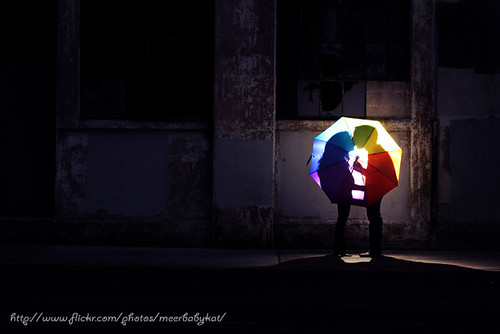Romantic kiss in the city