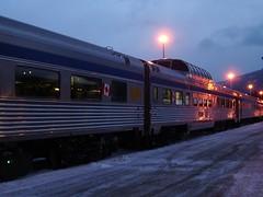Dec2009 Train in Jasper (alisonborealis) Tags: canada train travels stainlesssteel jasper rockymountains viarail