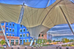 ASU SkySong (kevin dooley) Tags: new arizona sky building metal canon design high education dynamic song capital cement az center convex tent structure canvas business sidewalk research asu scottsdale 28 24mm f80 innovation economic venture shape curved range spheres development hdr rd services concave arizonastateuniversity incubation skilled workforce skysong icapture photomatix 40d asuskysong arizonastateuniversityskysong
