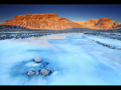 Frozen River (orvaratli) Tags: travel blue sunset mountain snow cold ice stone creek sunrise river landscape frozen iceland esja arctic icelandic arcticphoto rvaratli orvaratli