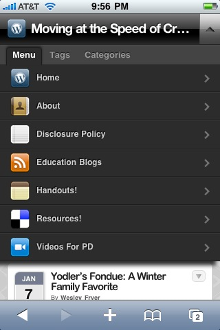 My blog menu running the WPtouch plug-in