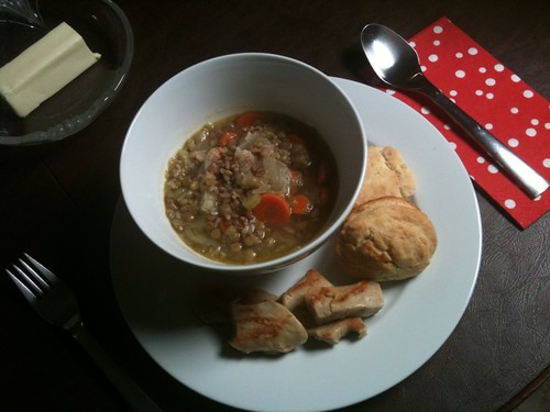 Lentil Soup with Veggie Scallops and Biscuits