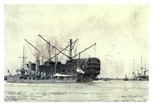 017- El casco del Pitt un carbonero ahora fuera de servicio-The Royal Navy (1907)- Norman L. Wilkinson
