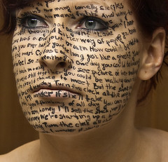 nineteenth day | BLACK letters (naunau) Tags: portrait woman selfportrait me girl face myself lyrics eyes song blueeyes text letters redhead letter bodypainting 365 bodyart 365days i 365project