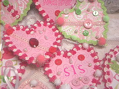 Valentine Surprise from Sister! (Cave Creek) Tags: pink red white green love vintage hearts pom sweet sister banner rick rack valentines stamping poms trims