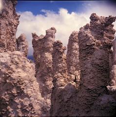 Tufa Redux (Вера Надежда Любовь) Tags: california mediumformat lomo toycamera roadtrip adventure mineral monolake hwy395 roadsideattractions formations lubitel166b geological tufas deposits sierrapass
