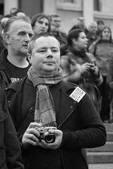 I'm a Photographer Not a Terrorist Demo. Trafalgar Sq, 23rd Jan 2010 (crashcalloway) Tags: london demo photography blackwhite trafalgarsquare photographers protesting westend civilrights protestors minoltaamount imaphotographernotaterrorist 23rdjanuary2010