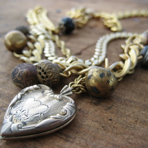 Warm Heart Antique Button Locket Necklace