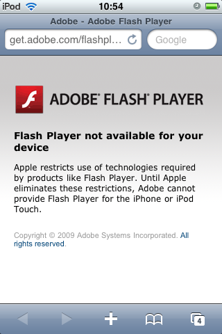 Flash Player not available for your device