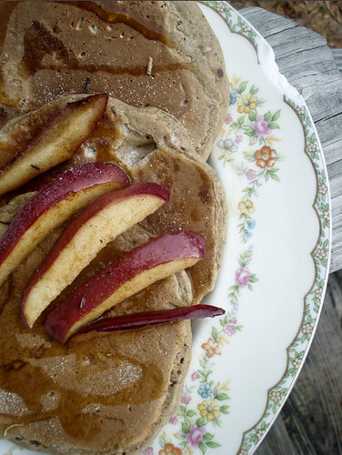 buckwheat pancakes with sautee'd applies