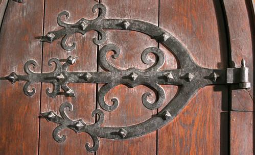 Wrought iron door hardware St John Chrysostom Church Delafield