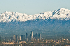 Downtown Los Angeles with Snow (johnwilliamsphd) Tags: blue sky copyright mountains yellow buildings john landscape la losangeles downtown williams c  williams john johncwilliams johnwilliamsphd phd