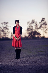 85mm + 120J (isayx3) Tags: sunset red portrait female umbrella la losangeles nikon dof dress bokeh parking flash lot 85mm f18 d3 43 onelight sunpak 120j strobist plainjoe isayx3