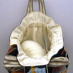 Route 66 Knitting Project Bag -- inside (jewlbal4) Tags: bag knitting handmade sewing sockknitting craft pouch wristlet projectbag