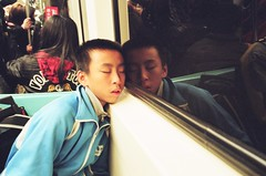 Fast asleep on the Taipei metro (deepstoat) Tags: colour film zeiss 35mm metro tube taiwan asleep contaxg2 kodakportra deepstoat