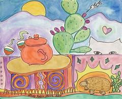 teapot no. 58 (358) ~  tea with Yuki in the desert (Neshamah Spirit Art) Tags: watercolor tea teapot set4 100teapots nicoleraisinstern