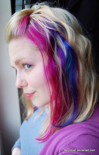 Pink Blue Curly