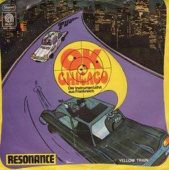 Resonance - OK Chicago b/w Yellow Train (1974) (darklorddisco) Tags: chicago disco gangster european cops euro coverart vinyl police 7 45 cover chase record 70s sleeve tommygun 7inch resonance picturesleeve