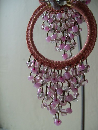 Romantic pink crocheted hoops