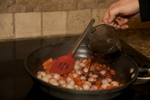 Simmer the veggies in broth and wine