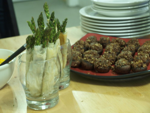 Phyllo-Wrapped Asparagus and Stuffed Mushrooms