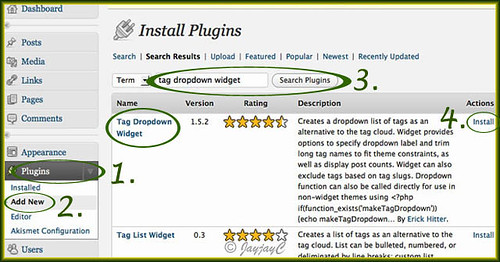 Screen shot on steps to be taken to install WordPress Tag Dropdown Widget plugin